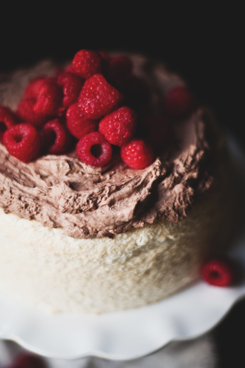 angel food with chocolate whipped cream