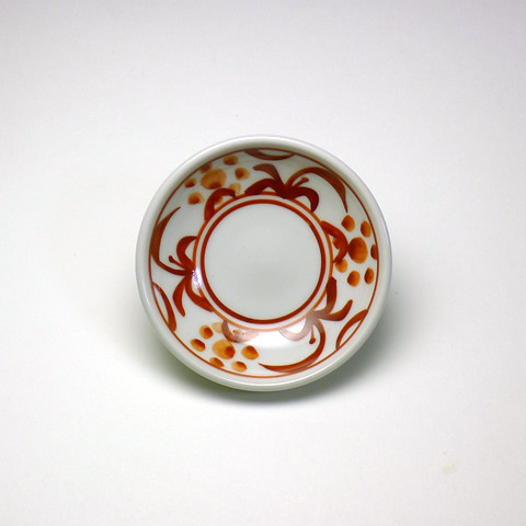 砥部焼 梅山窯「2.8寸小皿/赤絵太陽文」
