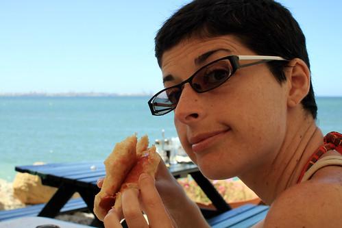 Molllete de jamon con vistas a la bahia de cadiz