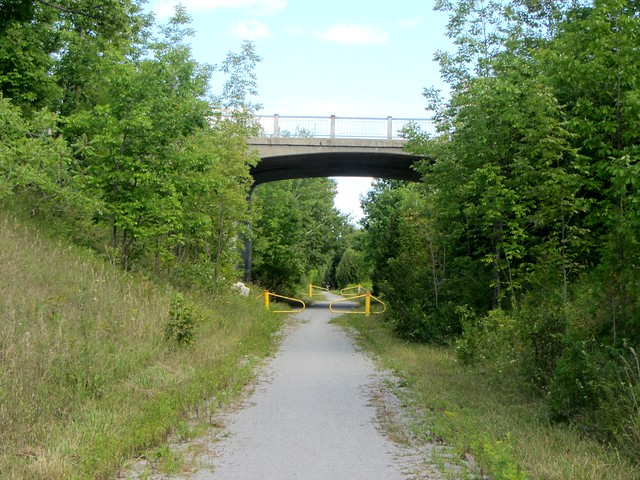 Highway 7 bridge over rail trail