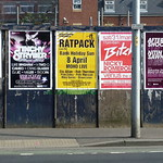 Bill posters on Wilmslow  Road in Rusholme, Manchester, UK
