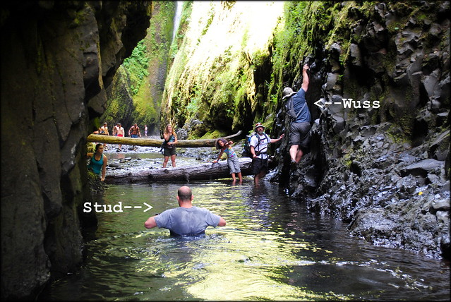 The Studly way to do Oneonta Gorge vs. the Wussy way to do it