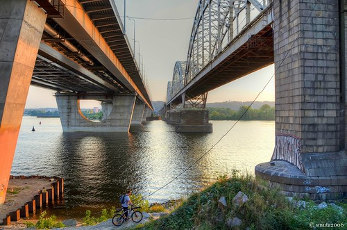 bridge light sunset summer sky sunlight house tree beach nature water grass bike bicycle rock stone architecture river landscape island graffiti golden evening pier haze wire bush sand nikon cyclist ripple magic wave bank railway ukraine hour cycle vehicle bicyclist ripples kiev beacon hdr magichour buoy goldenhour dnieper photomatix d5100 shockmypic