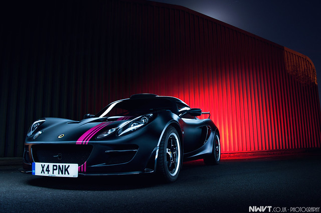 Satin Black and Pink Lotus Exige S Long Exposure Light Painted