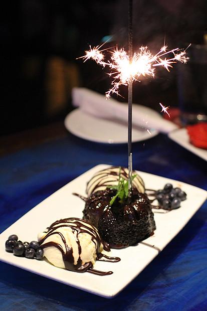 Sparkler and Lava Cake, Blu Que Island Grill, Siesta Key, Sarasota, FL