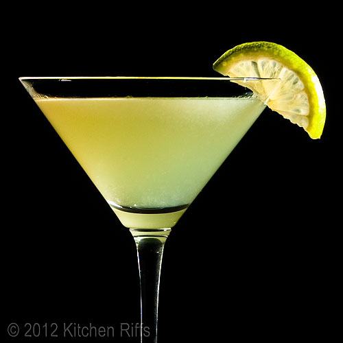 Last Word Cocktail with Lime Garnish, Black Background