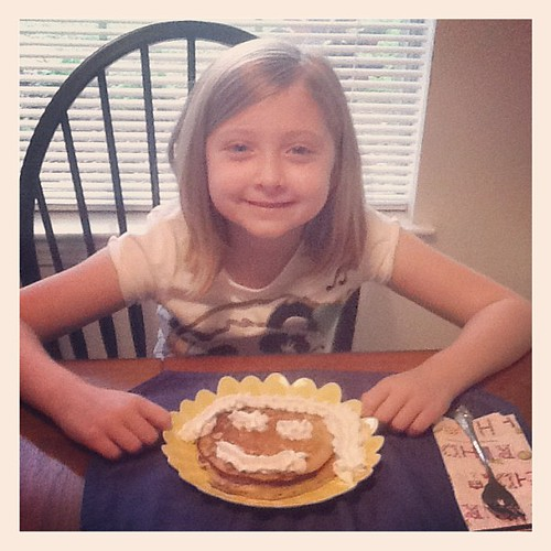 Birthday pancakes for the birthday girl.