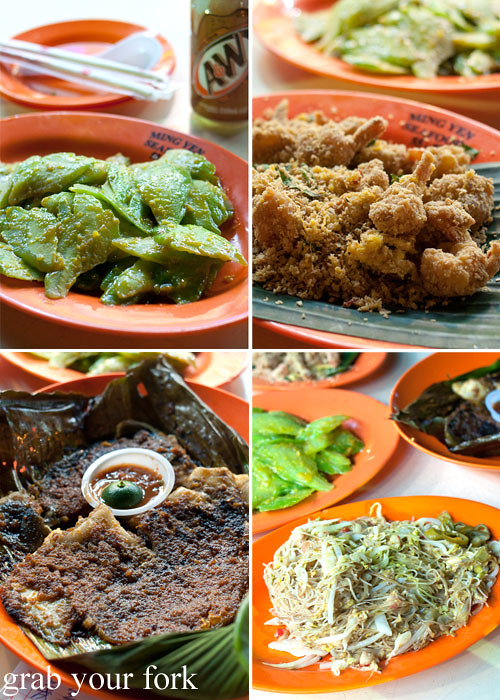 cereal prawns, mee hoon, bbq sting ray, bitter gourd melon with salted egg at lau pa sat festival market hawker market singapore