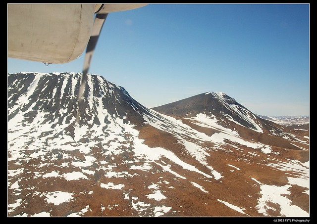 Snowy landscape from Twin Otter Plane