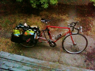 Low light trek, loaded with groceries