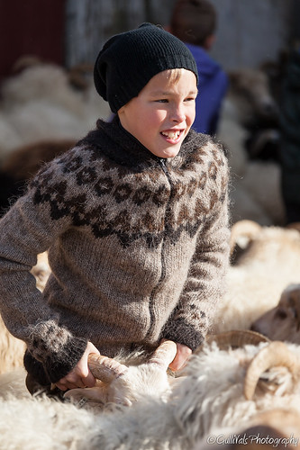 Wearing Icelandic sheep wool - Alex Adam my oldest son 10 years.