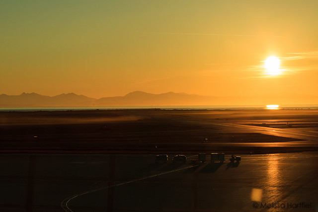 Sunset over Vancouver Internation Airport's runways