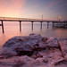Jetty awash in pink