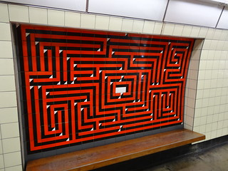 Warren Street tiled art in the shape of a maze