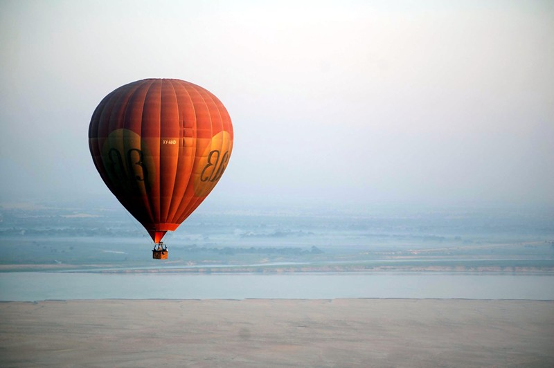Balloons over Bagan...close to the river