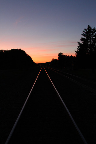 railroad blue trees sunset sky night train tracks silhoutte