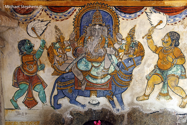 Ganesh mural brihadeshwara temple thanjavur tamil nadu for Mural ganesha
