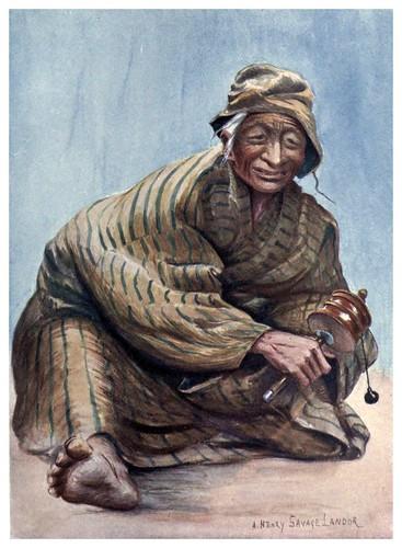 020-Una vieja con el molinillo de oraciones-Tibet & Nepal-1905-A. H. Savage-Landor