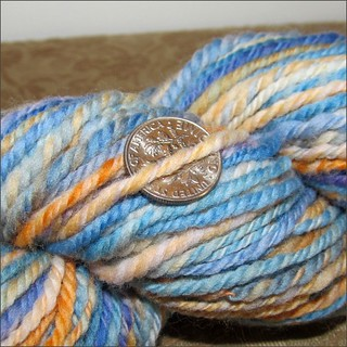 Lupines and Poppies handspun, close up