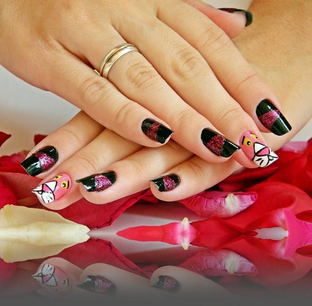 juliana leite nail art pink pantera cor de rosa unhas decoradas 018