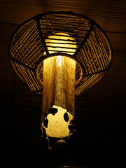 symmetry, lamp, light fixture, yellow, wood, light, chandelier, darkness, lantern, lighting,