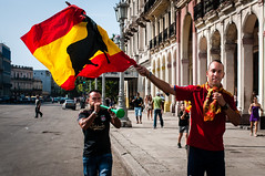 Soccer supporters of Spain celebrating Spain's win in Euro 2012 on the streets of Havana