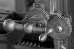 gear, monochrome photography, close-up, iron, monochrome, black-and-white, black,