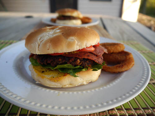 Black Bean Burger with Onion Rings from Vegan Junk Food (0024)