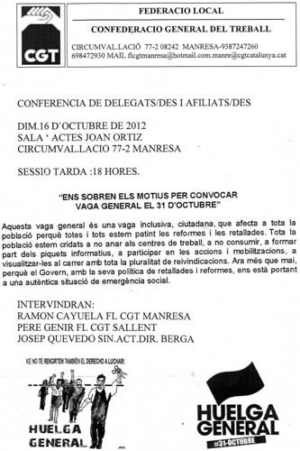 Conferència de delegats i afiliats de sallent i Manresa 16 octubre 2012