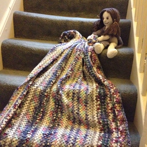 #Dolly was so pleased her new #crochet #blanket was finished that she couldn't wait to get dressed or find her ribbons before bring photographed