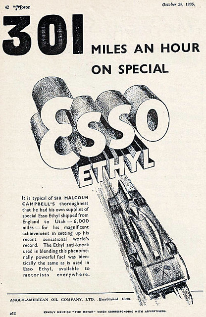 1935 Esso ad ft. Blue Bird