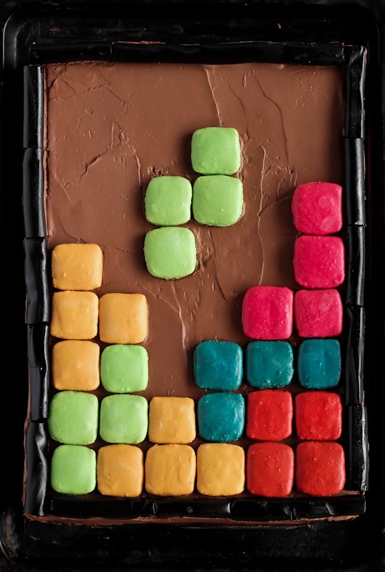Tetris Cake with Macarons