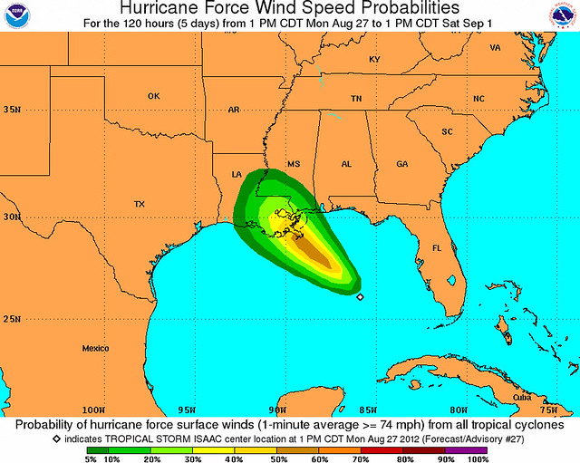 Isaac: Hurricane Force Wind Speed Probabilities - 120 Hours