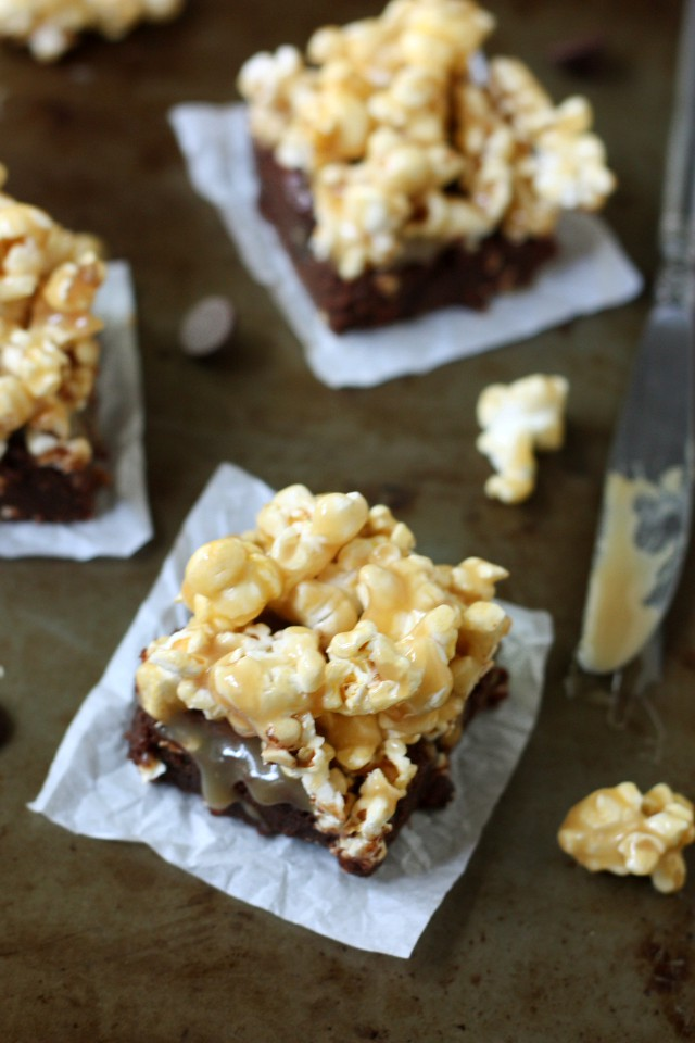 Caramel Popcorn Fudge Brownies