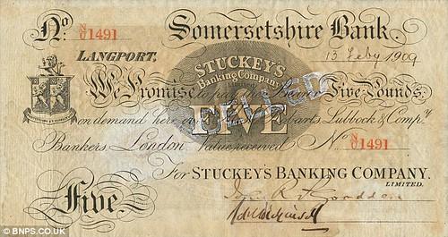 Stuckeys Somersetshire bank £5 note