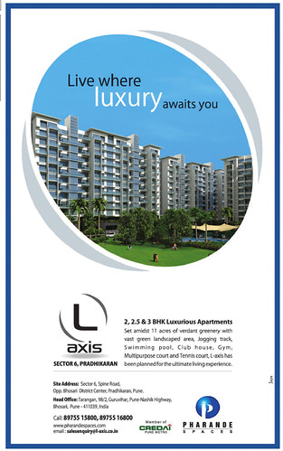 Pharande Spaces (L)-Axis 2 BHK 2.5 BHK 3 BHK Flats Sector 6 Spine Road opposite Bhosari District Center Pradhikaran (PCNTDA) Pune- TOI- 31st August 2012 by jungle_concrete