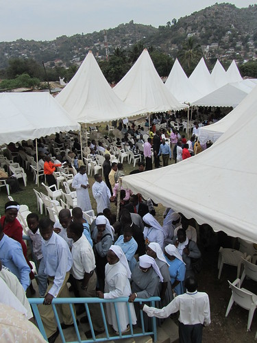 These were all the tents set up surounding the church to accommodate all the people.