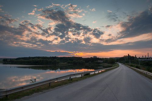 road trip sunset summer sky lake reflection nature clouds forest sunrise landscape dawn driving dusk bulgaria backgrounds cloudscape scenics tranquilscene nonurbanscene singlelaneroad popovo