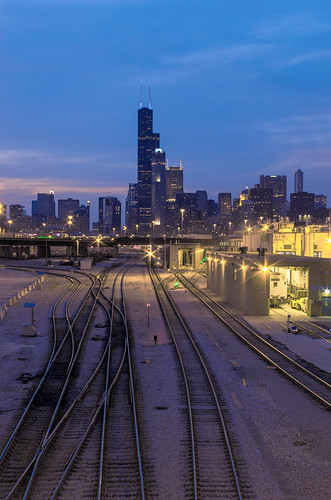 city railroad chicago building skyline architecture skyscraper evening twilight downtown pentax dusk searstower tracks amtrak rails bluehour trump hdr 311swacker willistower pentaxk5 briankoprowski bkoprowski