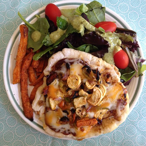 Lunch: Grilled veggies on homemade pita, sweet tater fries & salad #leftovers