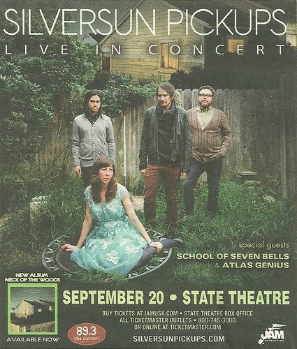 09/20/12 Silversun Pickups/ School Of Seven Bells/ Atlas Genius @ STate Theater, Minneapolis, MN (Ad)