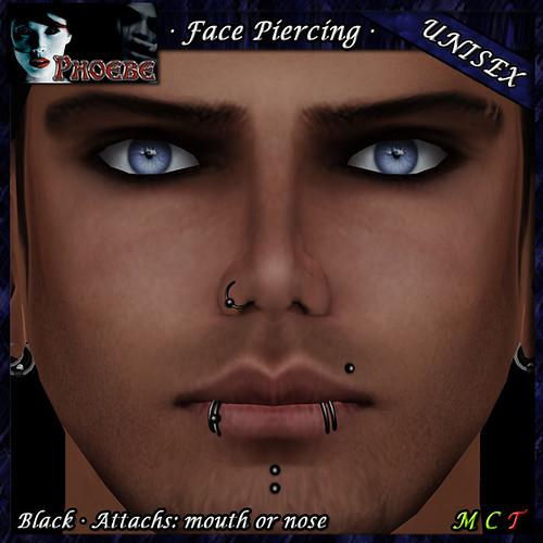 P Unisex Face Piercing ~ Serie P3 ~ Black