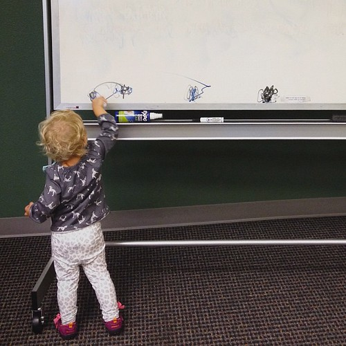 (repost with tighter crop so you can see her drawings) Addie loves dry erase markers. Drawings before hugs for her mama!