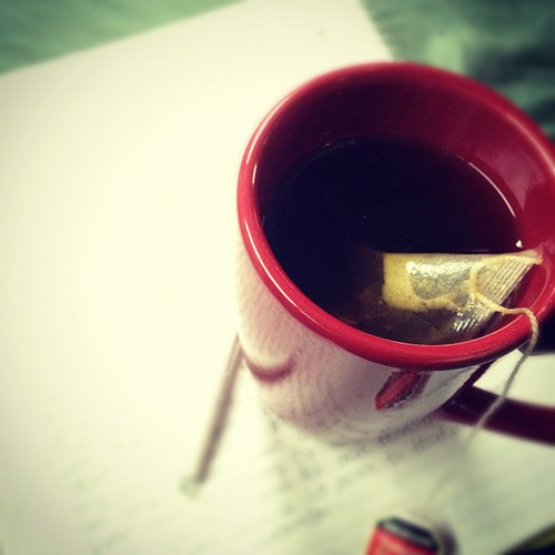 Hot spiced tea and journaling