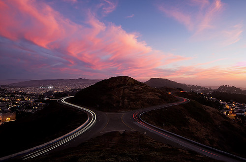 Light Trails & Sunset on Twin Peaks