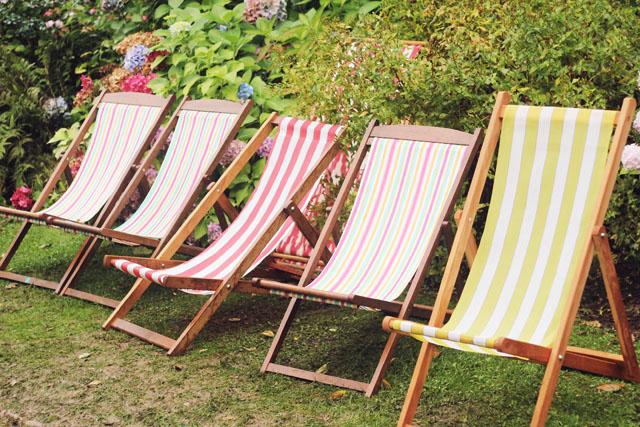 deckchairs in Portmeirion Wales