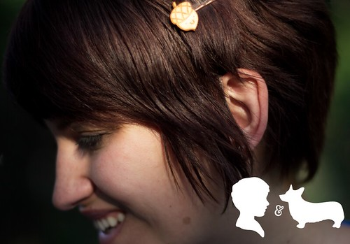 Katherine from Of Cocktails and Corgis Blog with my Acorn Wood Hairpins in her hair!