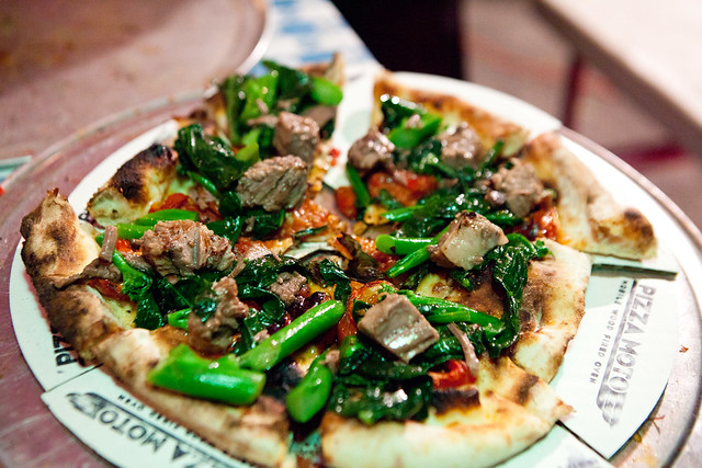 Stir fried broccoli beef brisket pizza (PizzaMoto & Danny Bowien of Mission Chinese collaboration)