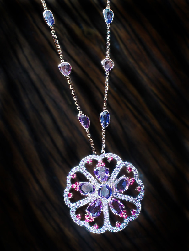 KDee Flower Necklace with rose cut sapphires and spinels for-web