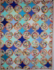 Sew Australia + Aqua and Orange Bee = Spiderweb quilt